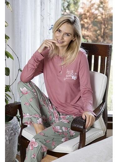 Aydoğan Kadın Poplin Altı Desenli Üstü Düz Yakası Düğmeli Pijama Takımı Renkli